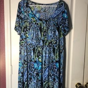 Dress Barn Blue,Green,&Black Print Dress